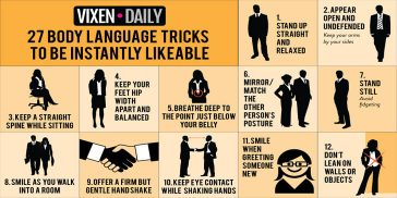 27 Body Language Tricks To Be Instantly Likeable: Infographic