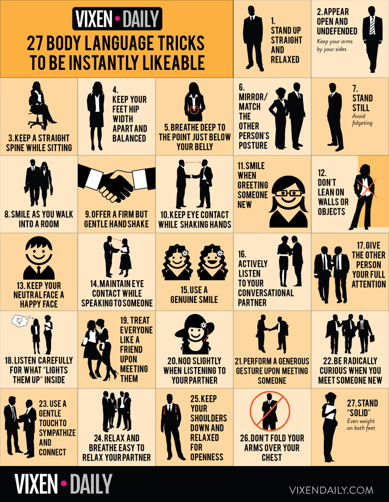 27 Body Language Tricks To Be Instantly Likeable Infographic
